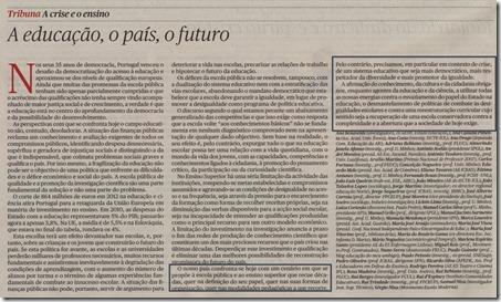 manifesto educação 2011_a educação, o país, o futuro